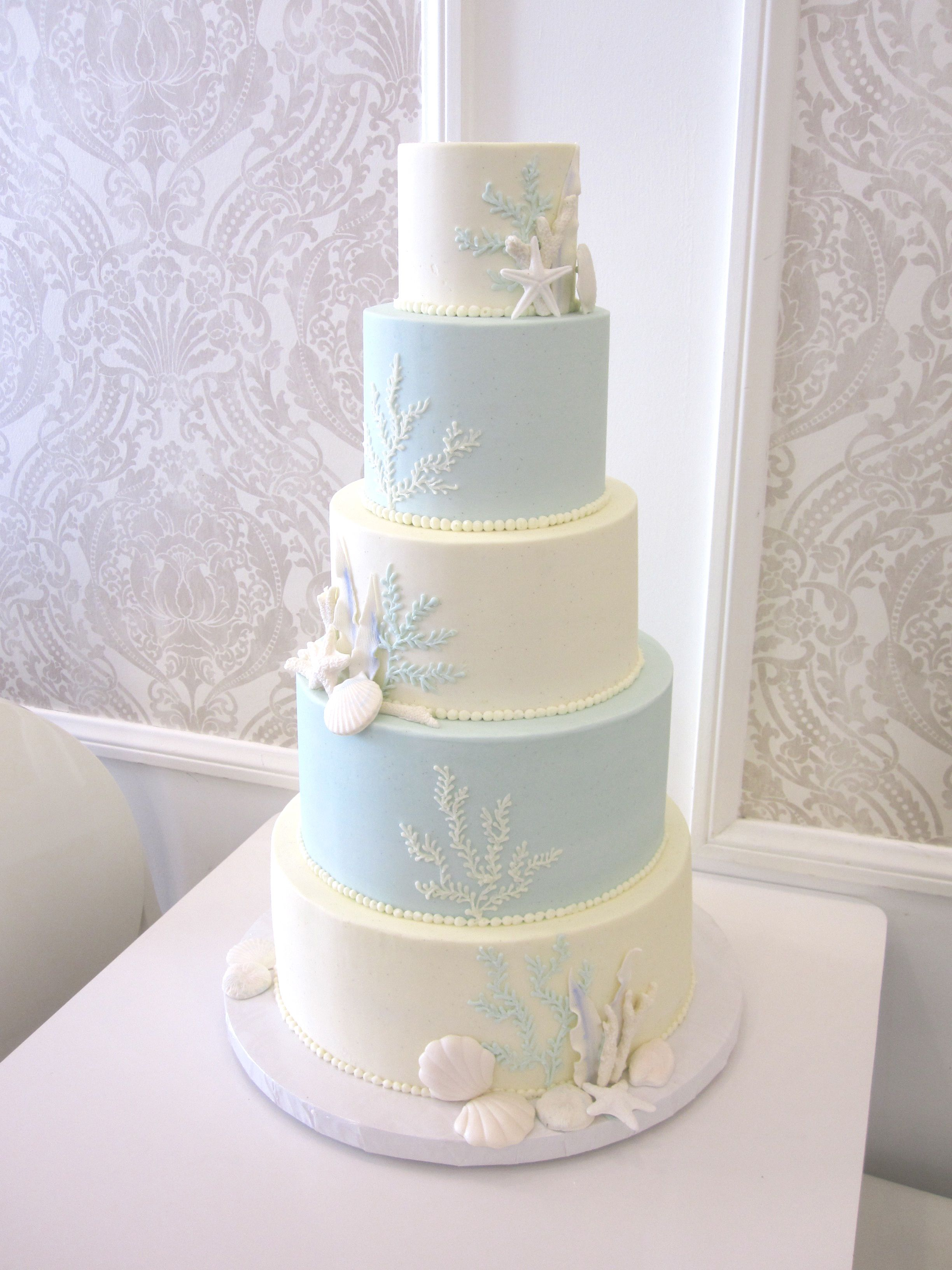 Blue And White 5 Tiered Seashell Wedding Cake By Vanilla Bakeshop