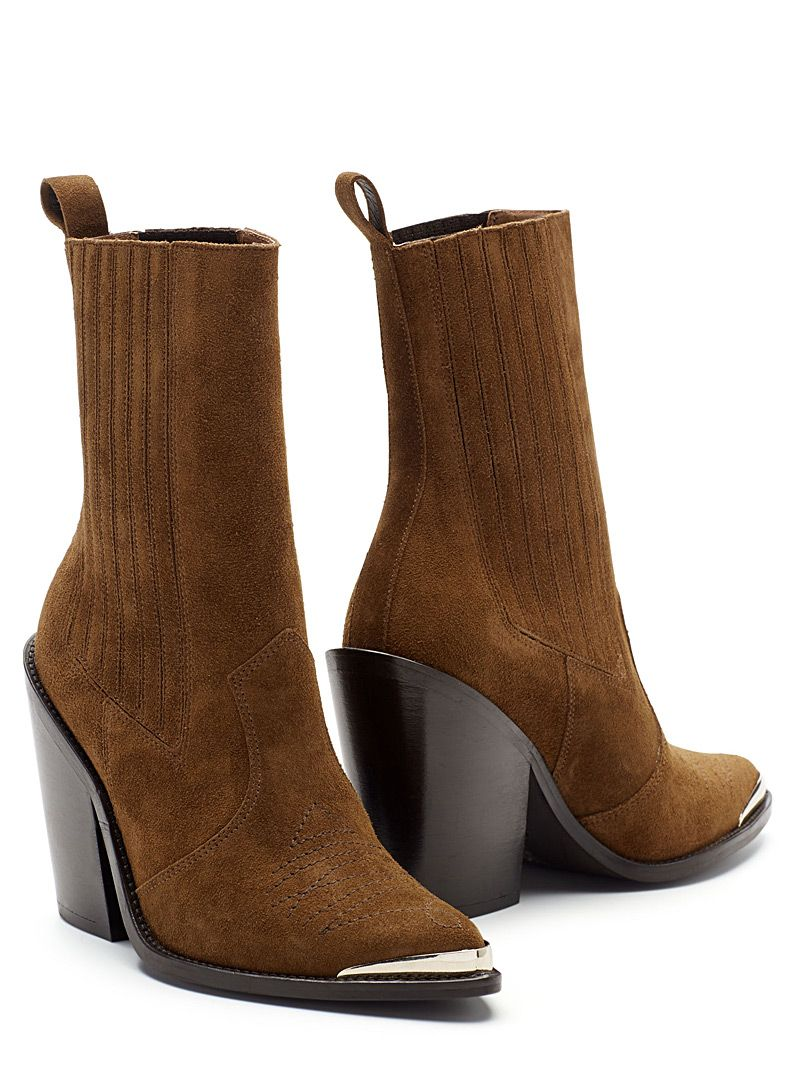 Women Laced up boots JONAK , in beige leather