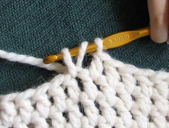 Double Crochet between stitches This is really just a variation of a double crochet, but it gives your project a whole new look. Instead of doing your typical double crochet in the next stitch you would do your double crochet between two of the stitches in the previous row. Here are a couple pictures to help, especially if you are a visual person, like me:) ♡ Teresa Restegui http://www.pinterest.com/teretegui/ ♡