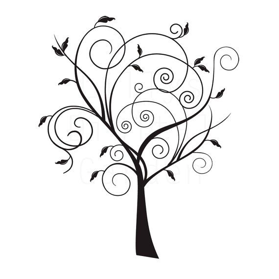 arbre clipart chic 2 timbre num rique image de l 39 arborescence tatouage pinterest. Black Bedroom Furniture Sets. Home Design Ideas