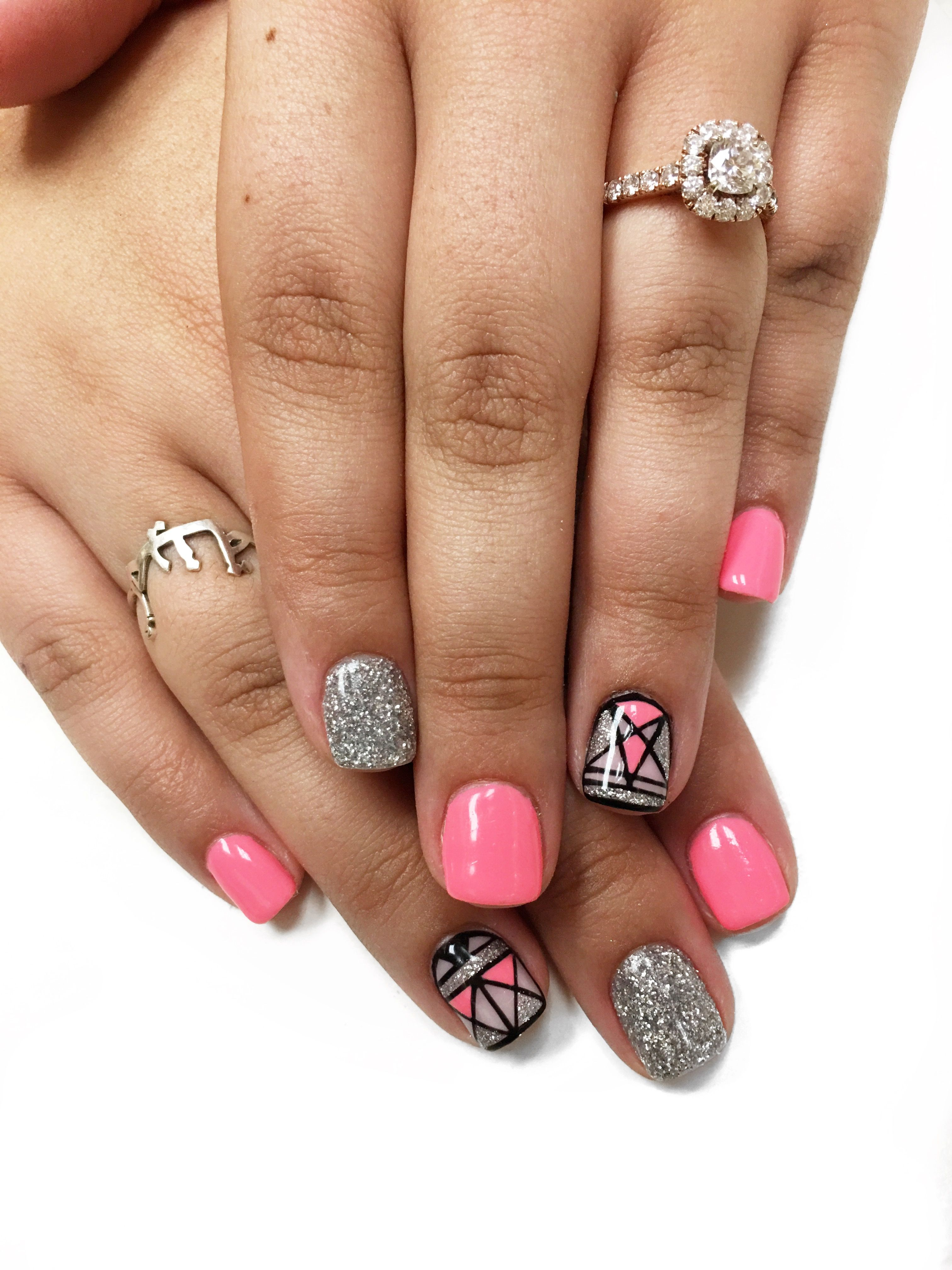 Summer Bright Pink Nails Loose Glitter Nails Nail Art Designs