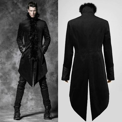 Designer Black Goth Fashion Long Overcoat Trench Coat