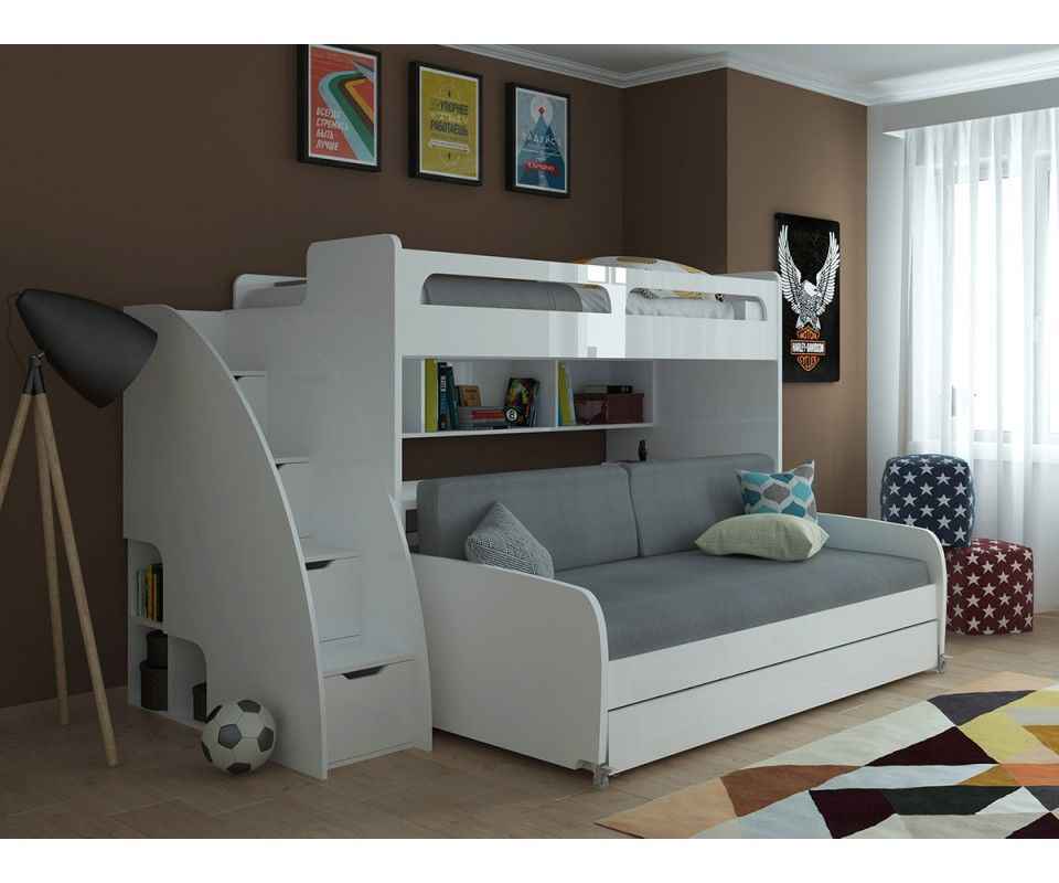 Best Bel Mondo Twin Bunk Bed With Sofa Table And Trundle In 640 x 480