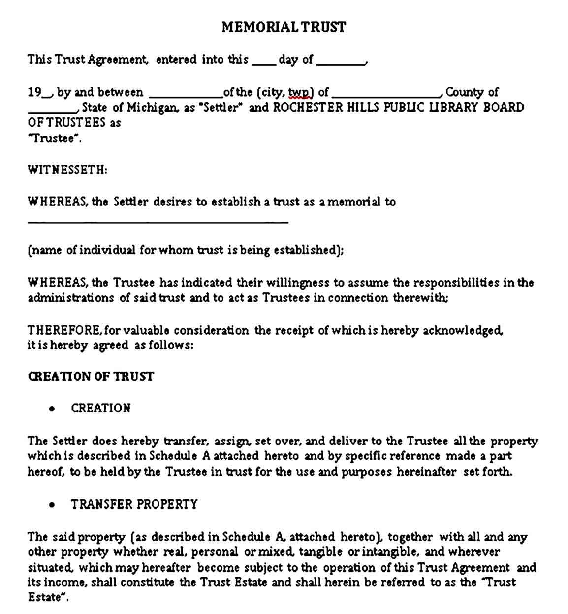 Trust Agreement Templates Sample Templates Business Template Contract Template