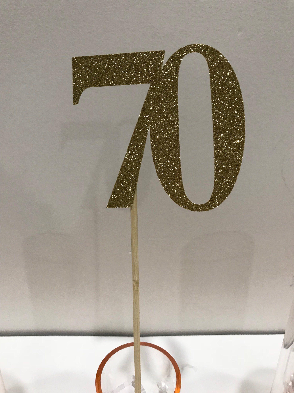 Silver Glitter 70th Table Decoration
