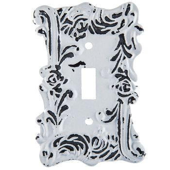 Distressed White Fancy Single Metal Switch Plate Hobby Lobby 1204148 Switch Plates Distressed White Metal Lighting
