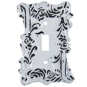 Distressed White Fancy Single Metal Switch Plate Hobby Lobby 1204148 Switch Plates Distressed White Metal Lighting