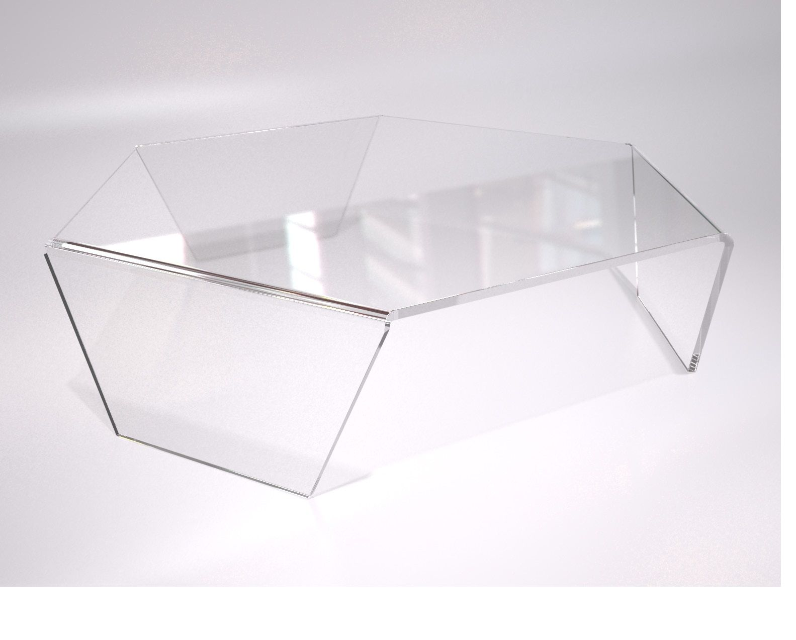 Clear Plexiglas Acrylic Hexagonal Coffee Table Bent To Shape This Table Design Option Is Manufactured In High Quality Clear Plexiglas Acrylic With All Edges Dia [ 1273 x 1583 Pixel ]