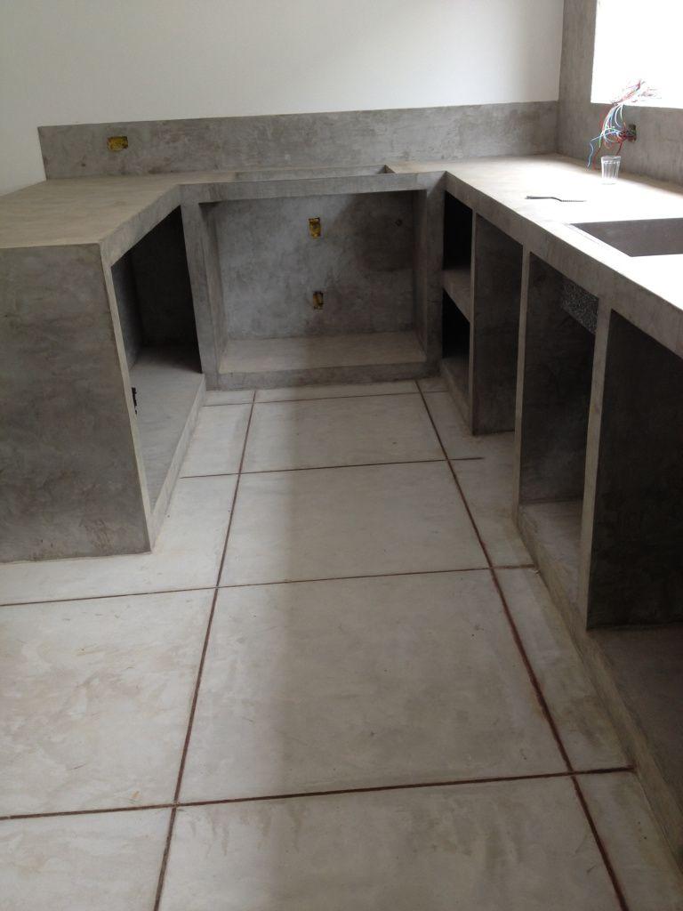 Cozinha De Alvenaria Com Acabamento Em Cimento Queimado Efeito