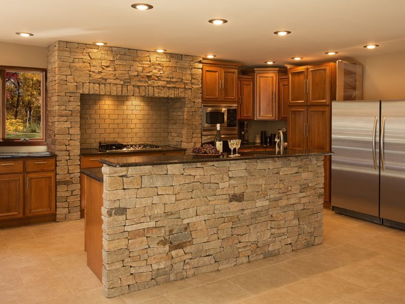 Kitchens With Natural Thin Stone Accents Stone Kitchen Island