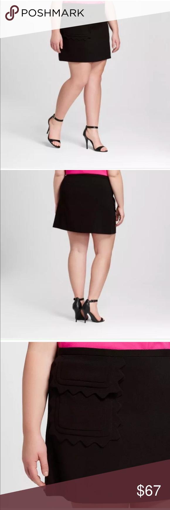 a61c5e3d1c Victoria Beckham Target 2X Twill Skirt Scallop Victoria Beckham Target 2X  Black Twill Skirt Plus Size