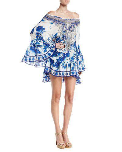 f718a75eba2f CAMILLA Embellished Silk Off-The-Shoulder Frill Dress