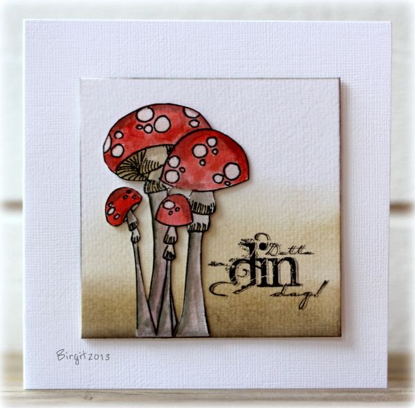card by Birgit... love the polka-dotted mushrooms! Shading behind them looks earthy-perfect setting for the toadstools.