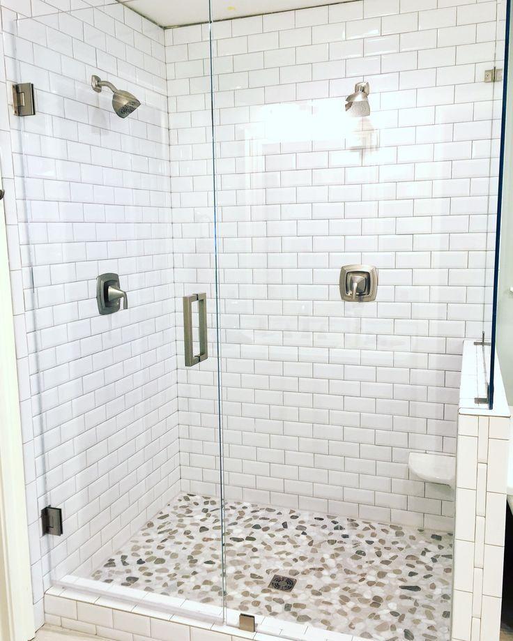 Walk In Shower Subway Tile Carrera Marble Tile Glass
