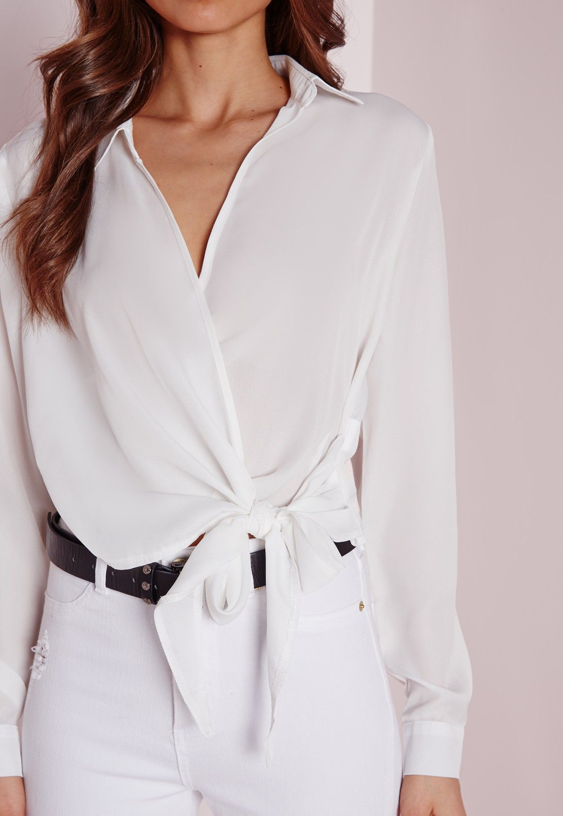 8760f2292d0297 Missguided Ivory Wrap Over Tie Side Blouse | Style Inspiration ...