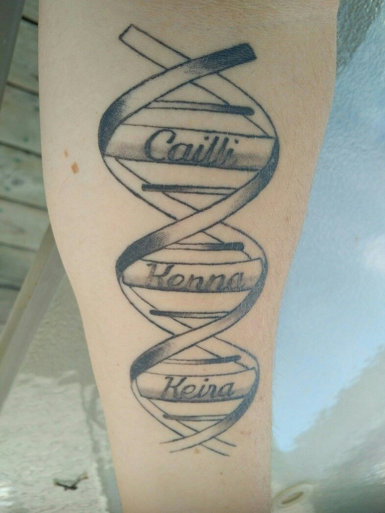 b385aa5f2 My daughter tribute tattoo. 3 names captured inside a DNA Helix. Made all  the more special since these girls are babies from IVF.