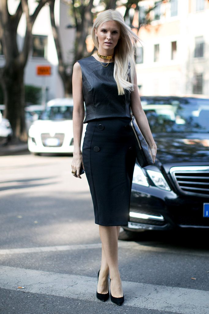 Kate Davidson Hudson made black on black that much more exciting with a leather shell and a gold choker.