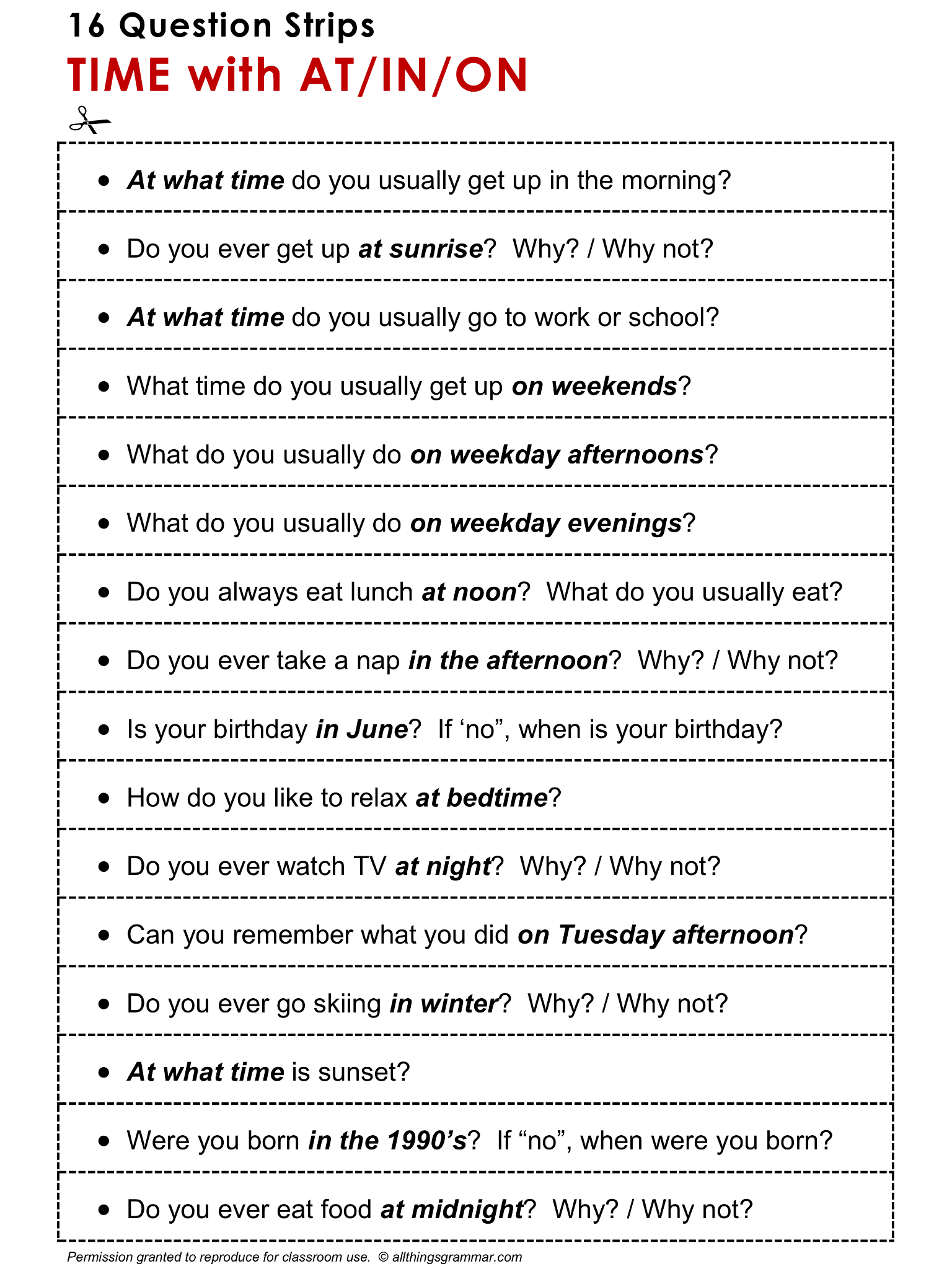 English Grammar Discussion Practice Prepositions Of Time At In On 16 Question Strips Http Ww Learn English Words English Prepositions Teaching English [ 2048 x 1536 Pixel ]