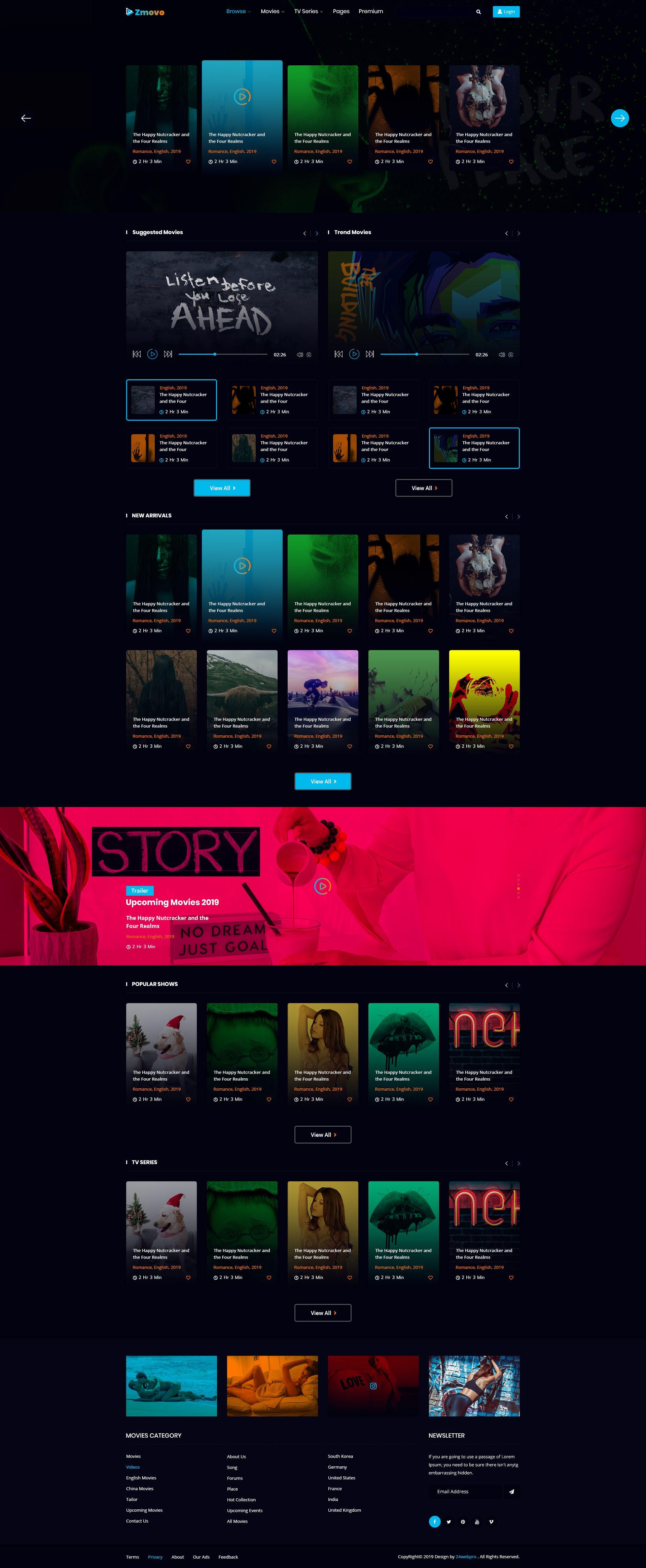 Zmovo Online Movie Video Tv Show Psd Template Movies Online Psd Templates Psd