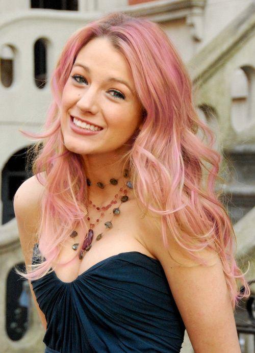 Blake Lively With Pink Hair Hair Makeup Nail Polish Beauty