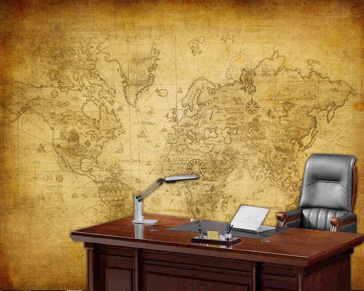 World map wall mural old map of the world repositionable peel world map wall mural old map of the world repositionable peel stick wall paper easy to install gumiabroncs Gallery