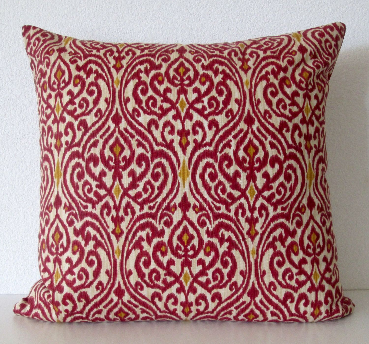 Crimson red damask pillow cover Waverly Srilanka Ikat Harvest