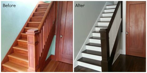 Best Refinishing An Old Staircase Dark Stain White Risers 400 x 300