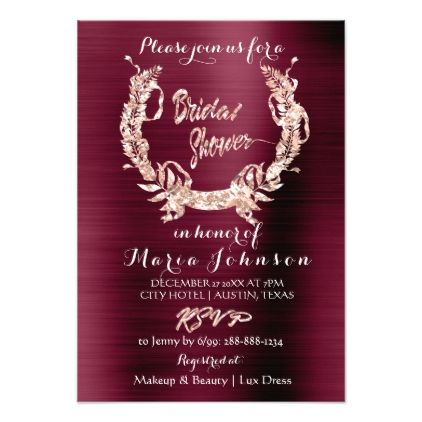 Bridal Shower Olive Wreath Rose Gold Burgundy Red Card