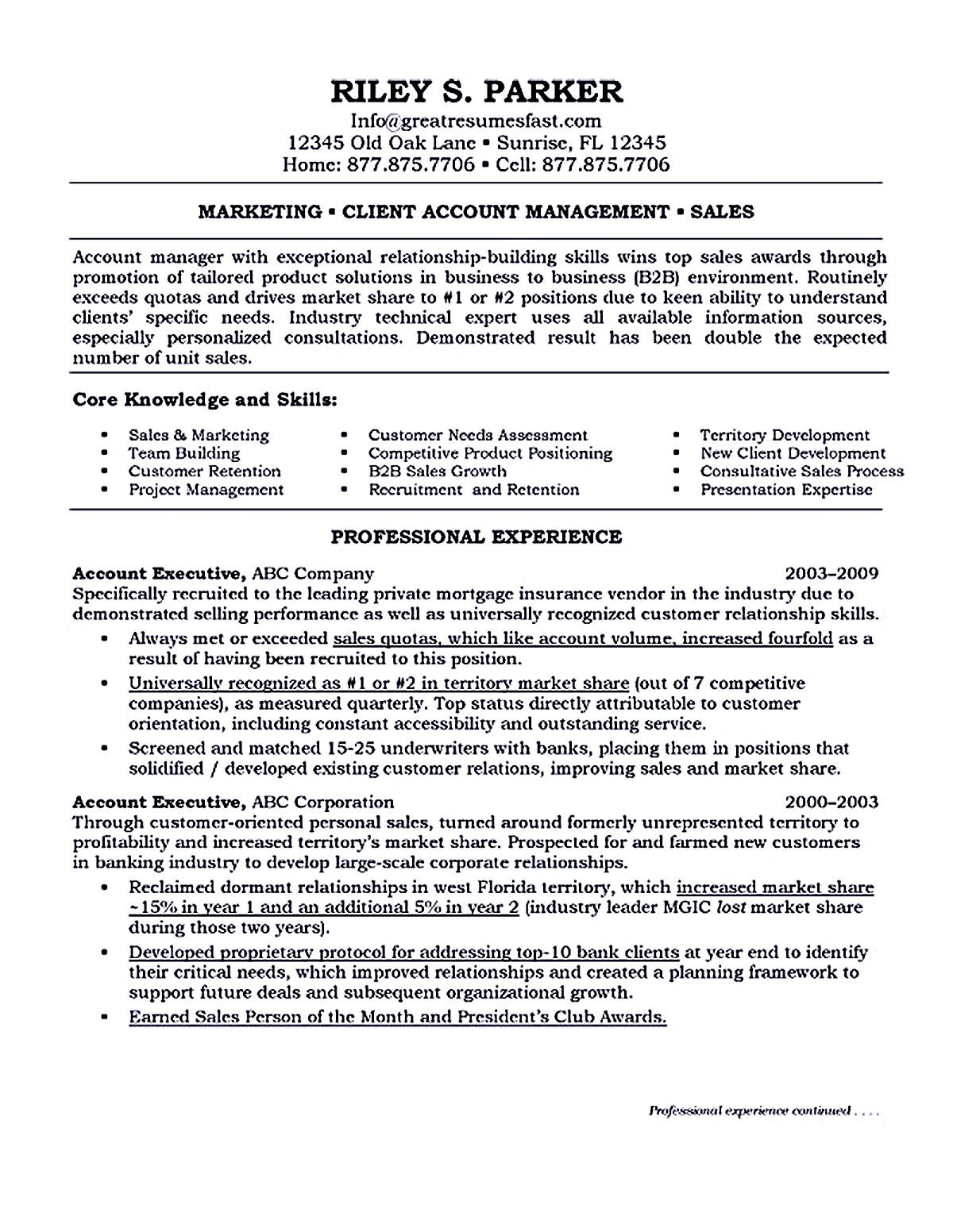 sample resume for marketing executive position, marketing manager ...