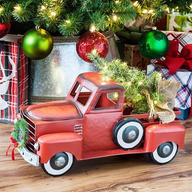 member's mark vintage metal truck with lighted accents, red