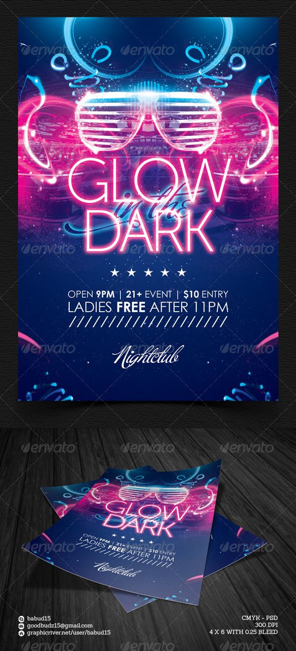 Glow In The Dark Flyer Template Flyer Template Template And Event