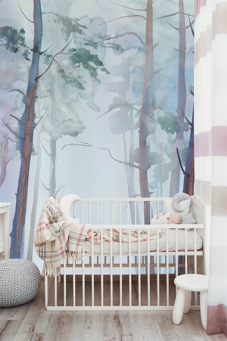 Watercolor Wallpaper Nature Forest Wall Mural Peel And Stick