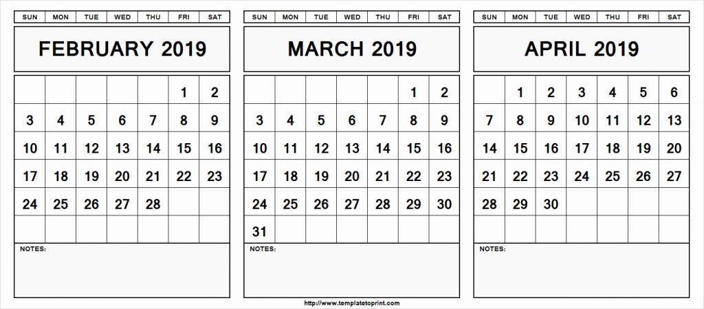 February-April 2019 Calendar February March April 2019 Calendar | February 2019 Printable