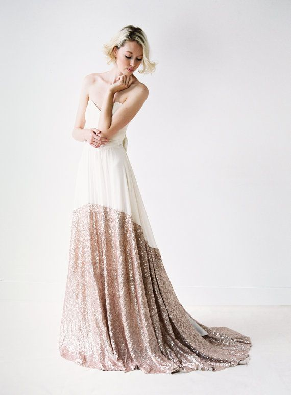 Sierra A Modern Chiffon And Rose Gold Sequined Wedding Dress