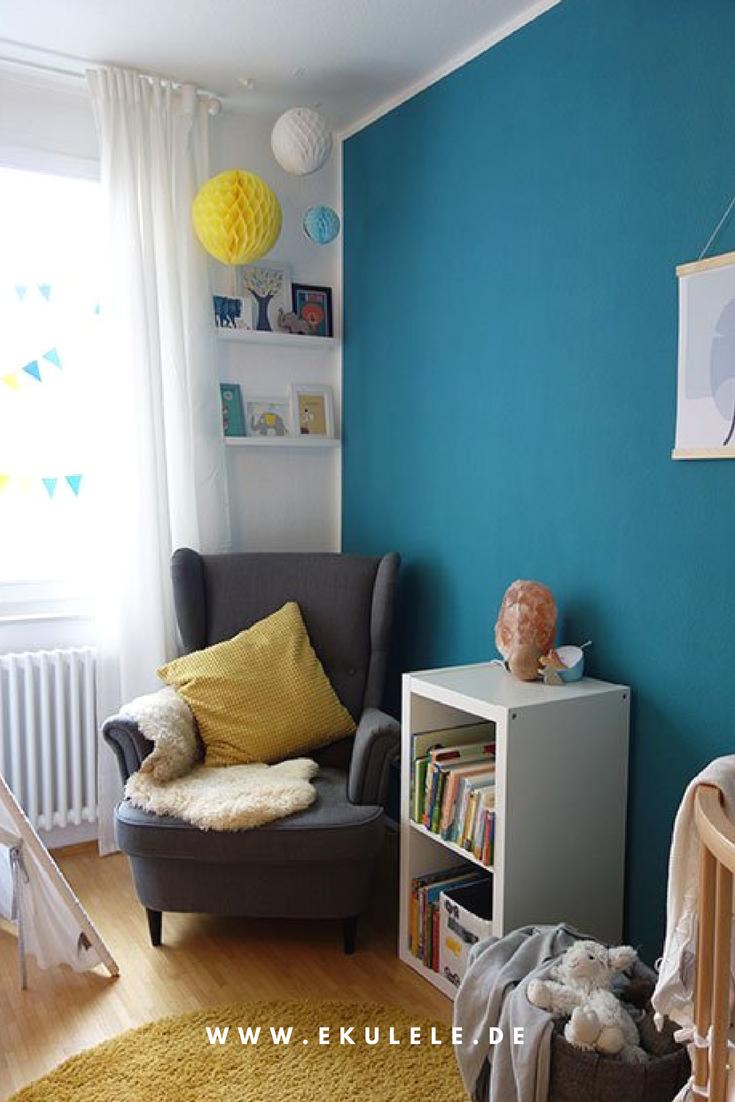 Kinderzimmer, blau, gelb, Sessel, Ikea, Stokke Mitwchsbett