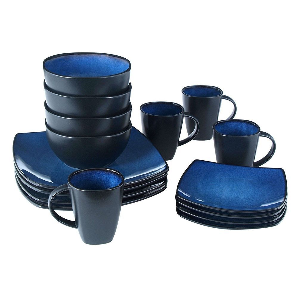16 Piece Square Reactive Glaze Dinnerware Set Dinner Blue Cup Dishes Kitchen New  sc 1 st  Pinterest & 16 Piece Square Reactive Glaze Dinnerware Set Dinner Blue Cup Dishes ...