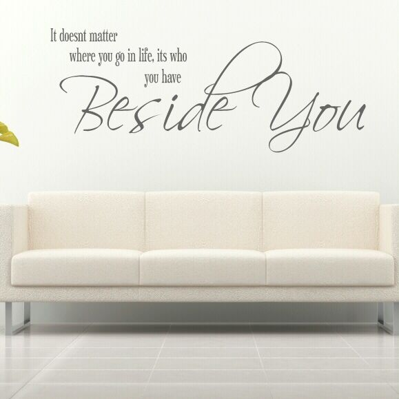 Quote wall decals for living room beside you quote wall for Living room quote stickers