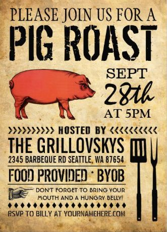 Vintage Pig Roast Invitation Party Decorating Ideas In 2019 Pig