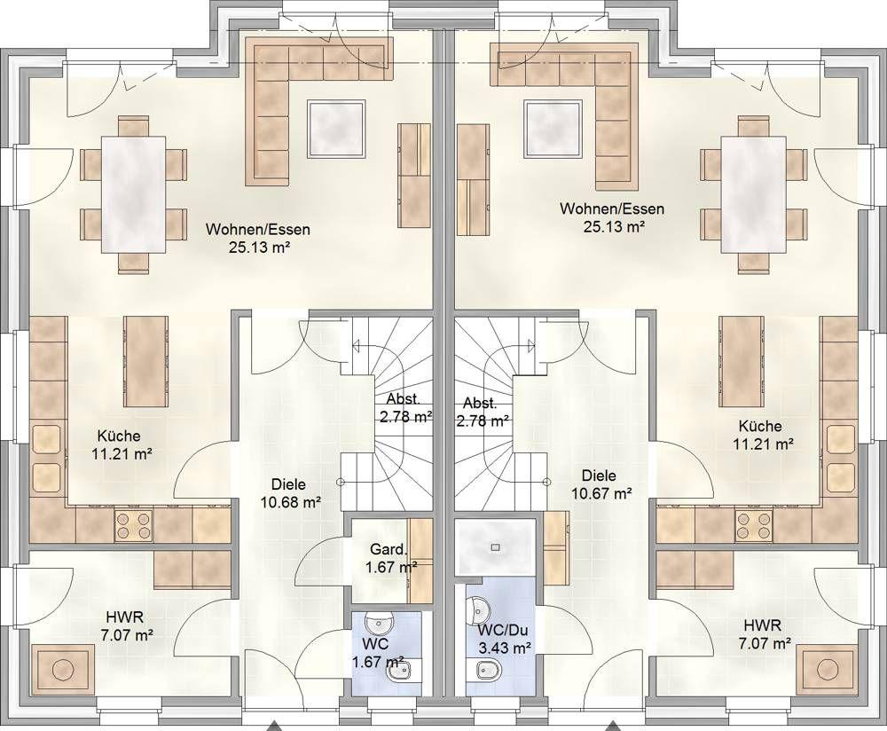 DUO 112 - das Doppelhaus mit je 112 qm Grundriss - Erdgeschoss ...