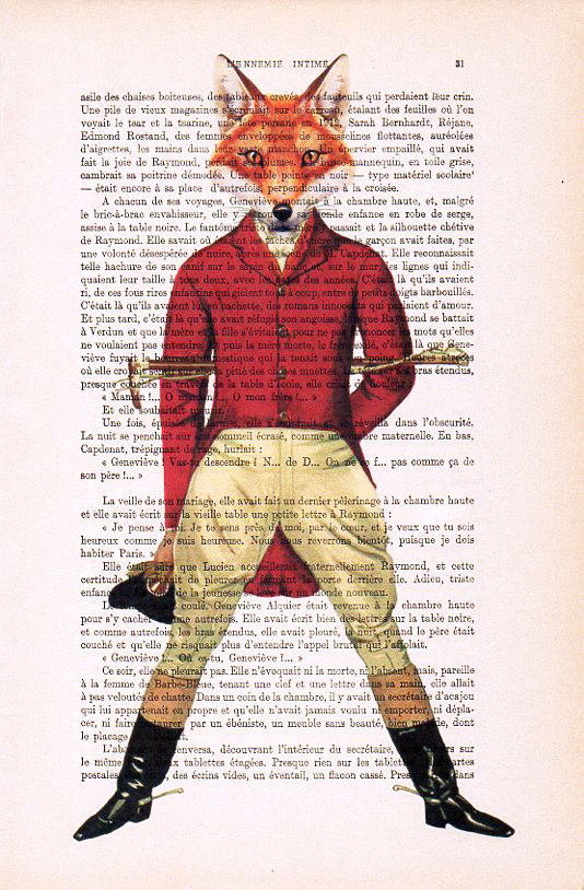 ART PRINT ON ORIGINAL ANTIQUE BOOK PAGE FOX Animal Old DICTIONARY FOXES Picture