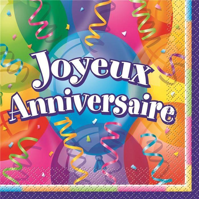 Bien connu Serviette de table Joyeux anniversaire | Joyeuse anniversaire  XC41