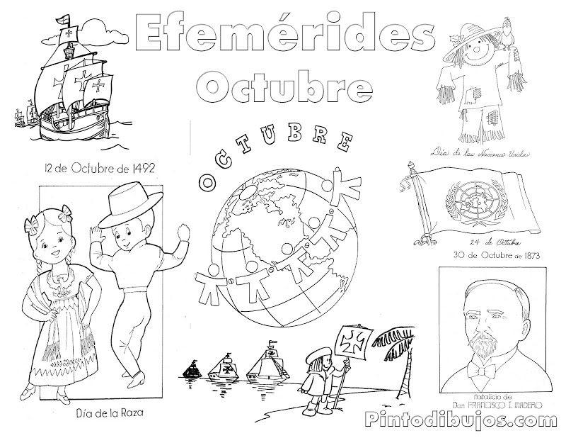 Efemérides Octubre Para Colorear Efemerides Octubre