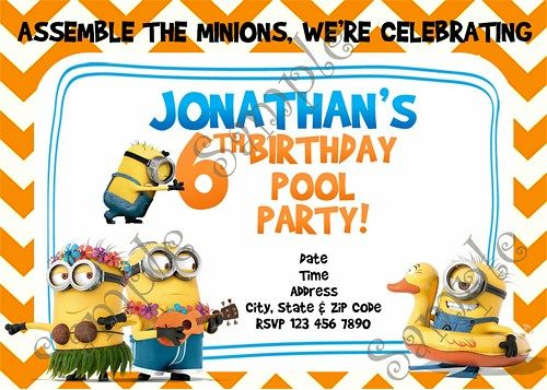 Minions Pool Party Birthday Invitation Free Thank you card