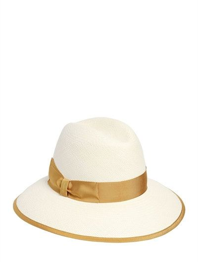 39f88e2fb802 BORSALINO - QUITO CLAUDETTE PANAMA STRAW HAT - WHITE YELLOW