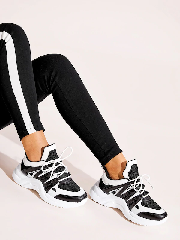 Colorblock Lace up Chunky Sneakers | Look com tenis, Poses