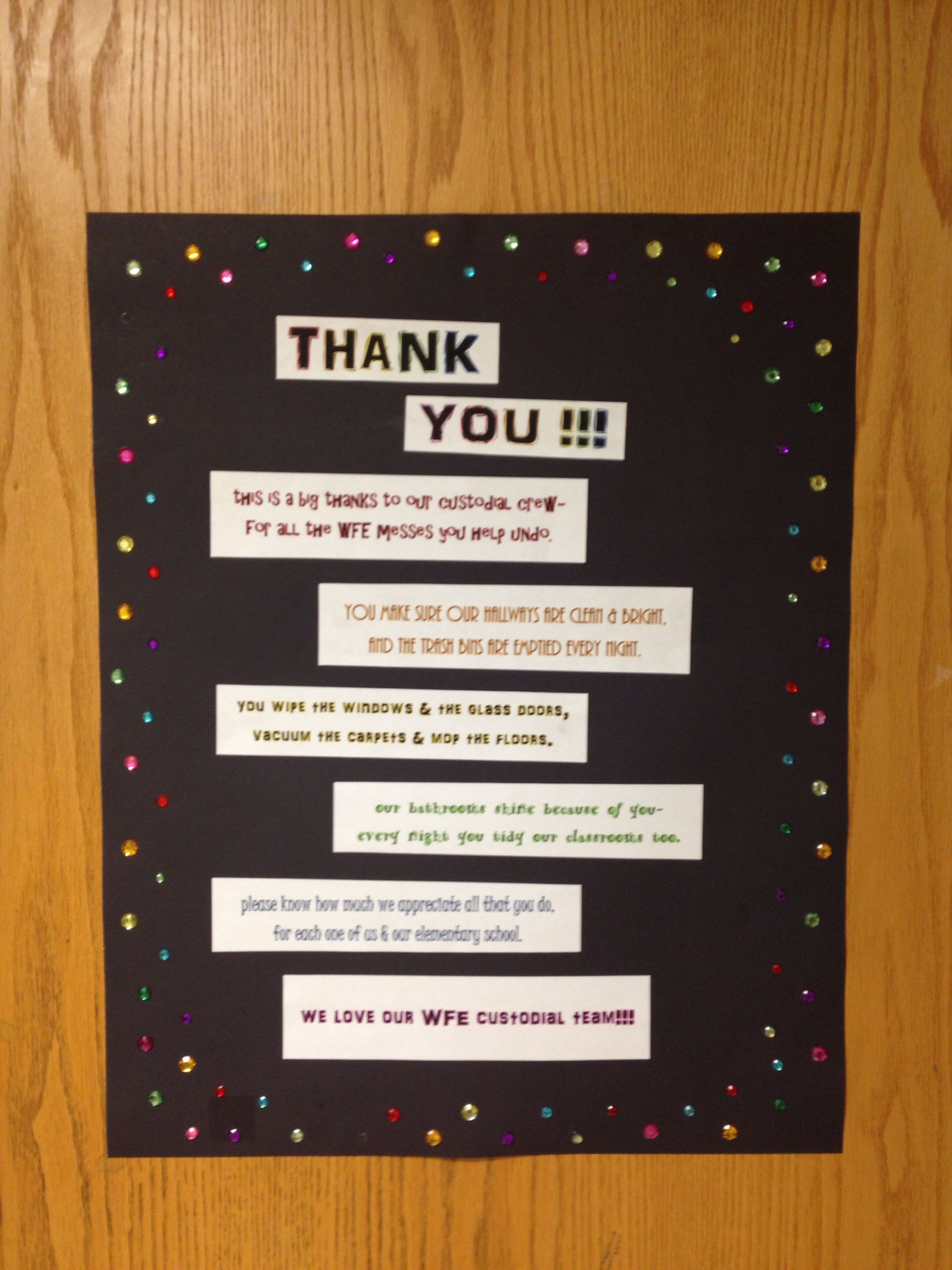 Janitor Poem On Poster Board To Decorate Doors For Custodian