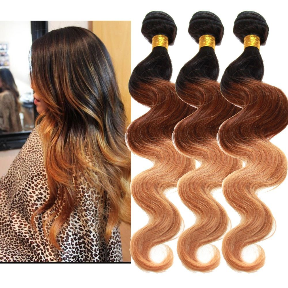 Human Hair Extensions 150g 161820 3bundles 3tone Ombre Body Wave