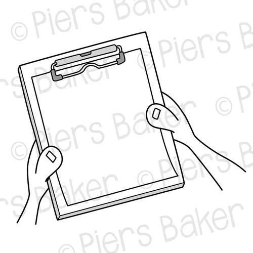 ClipboardChartPaperHandsDocumentRecord — SVG Doodle