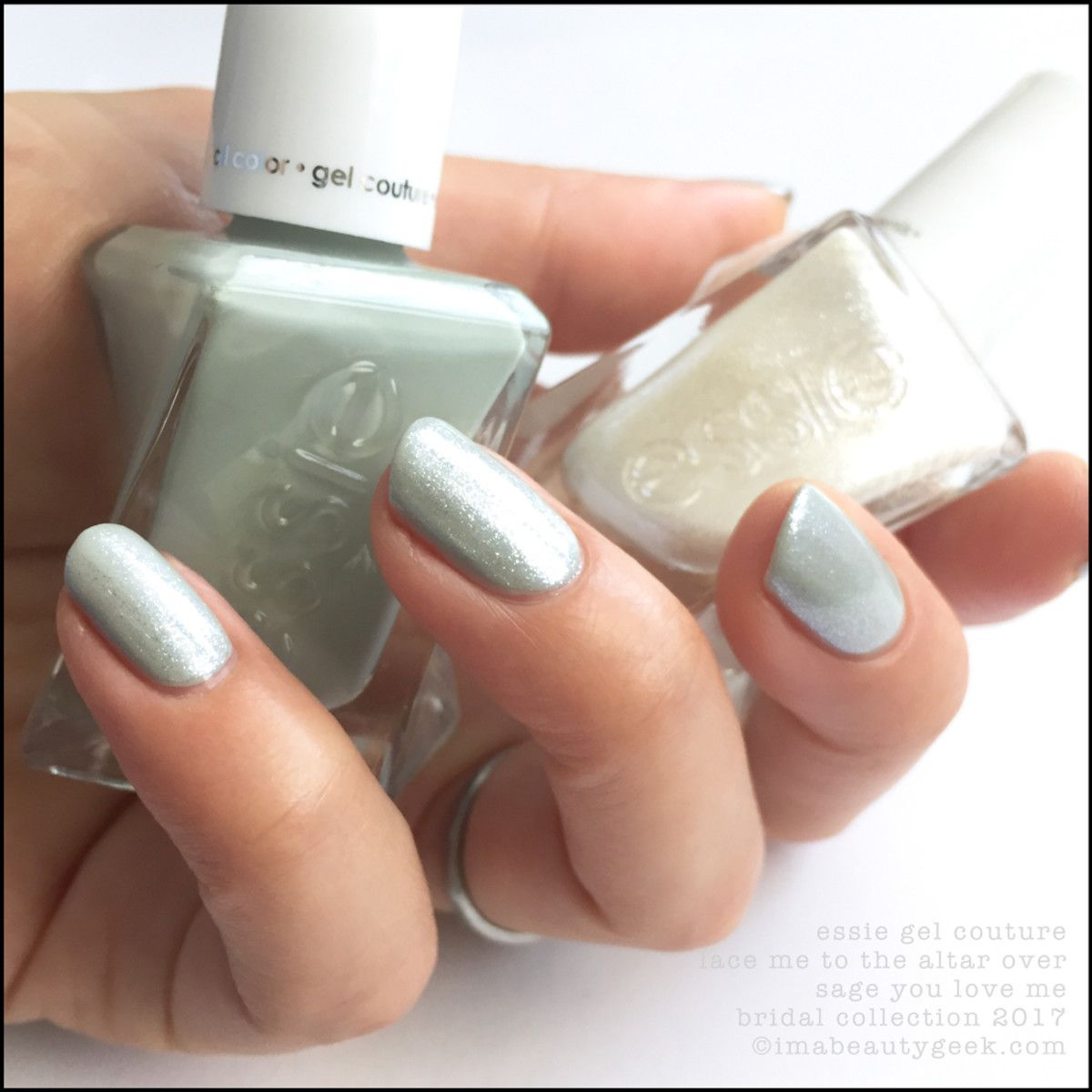 Essie Lace To The Altar over Sage You Love Me essie bridal 2017 ...