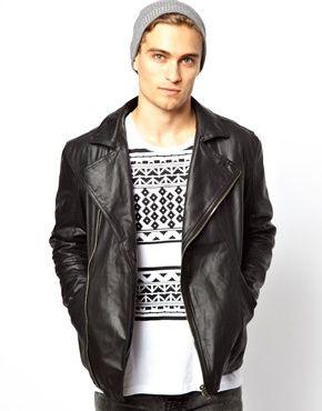 Image 1 Of New Look Leather Biker Jacket Men Jackets Stylish